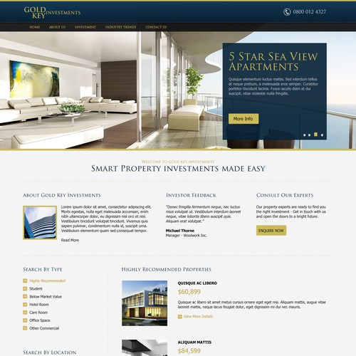 Gold Key Investments needs a new website design