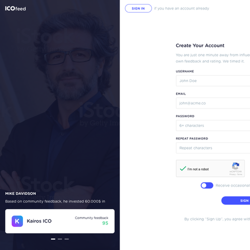 Sign Up Page for ICOfeed product