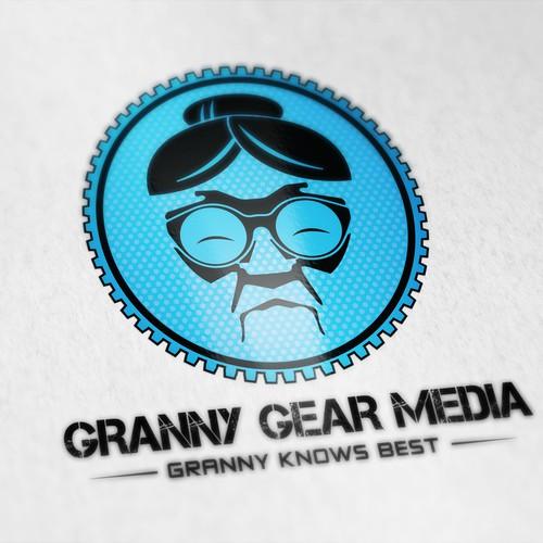 "Create a crazy granny logo for ""Granny Gear Media"""