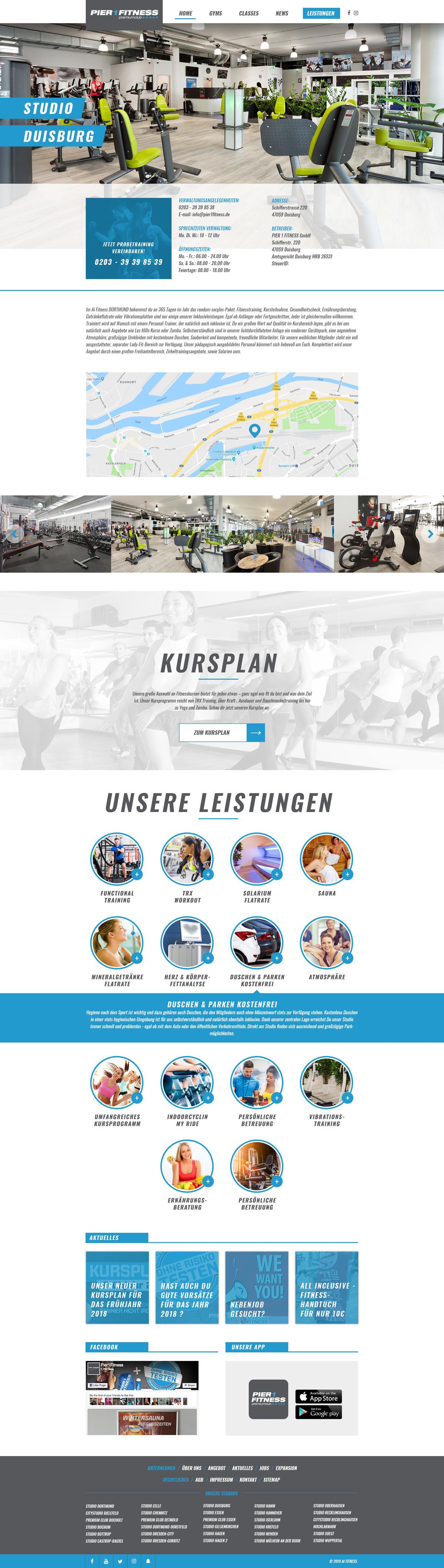 """Gym website template adjusted for specific gym + internal pages like """"Kontakt"""", """"Impressum"""""""