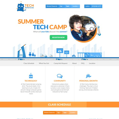 Single page website design for children tech camp