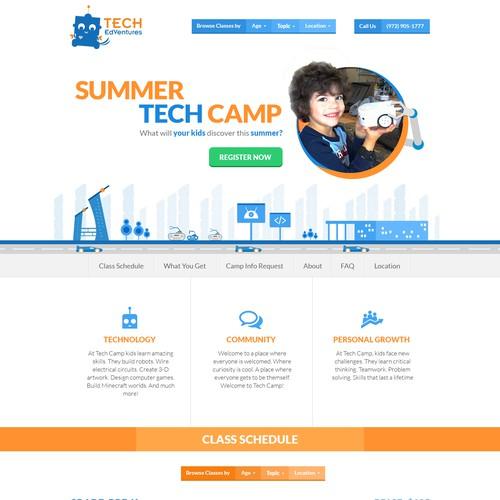 Single page website design for children tech camp