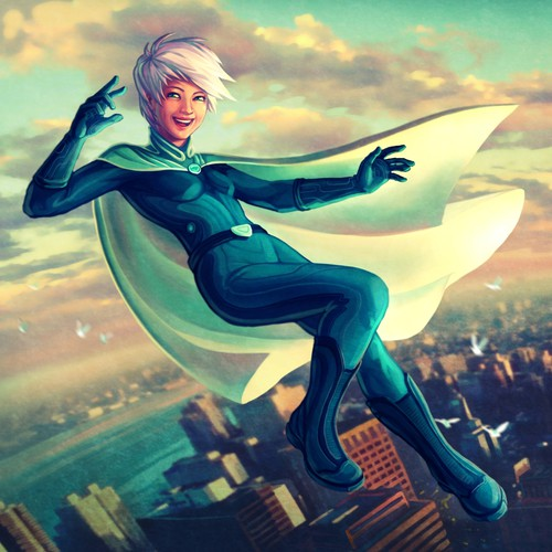 Create a landing page illustration for a website promoting a book about superheroes