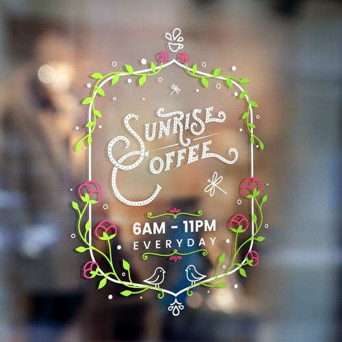 Glass sticker for coffee shop entrance
