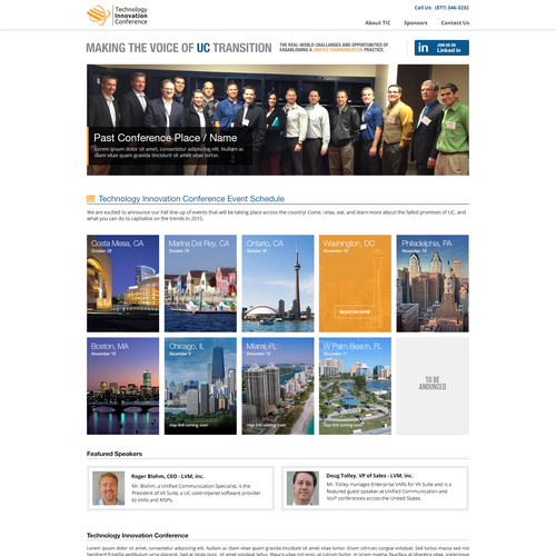 Web page design for Technology Innovation Conference