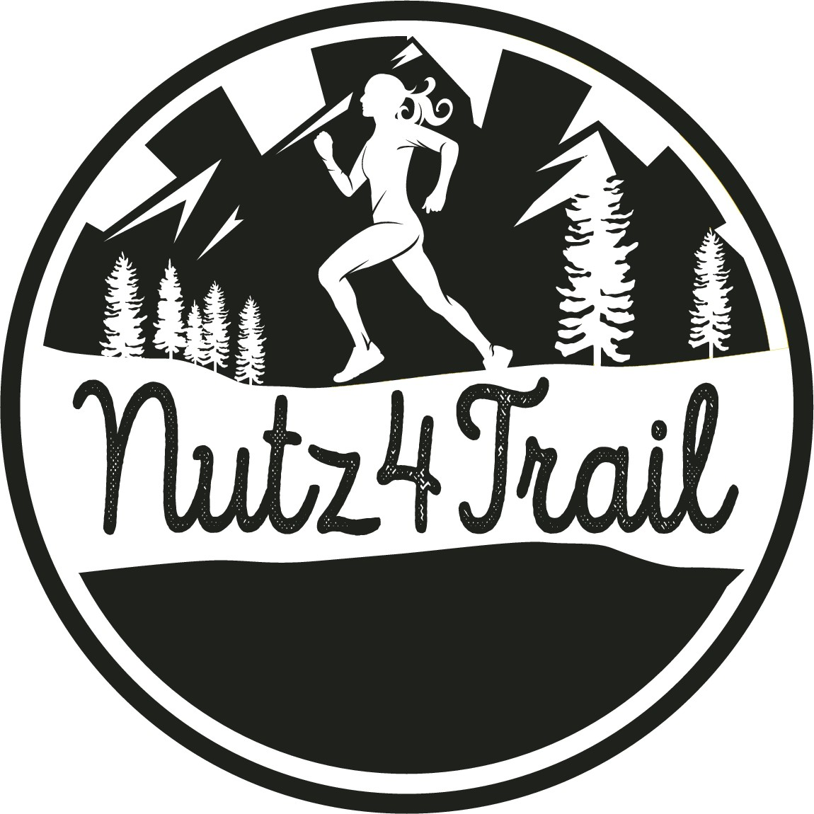 Create a captivating icon for the strong trail running female athlete who seeks durable apparel