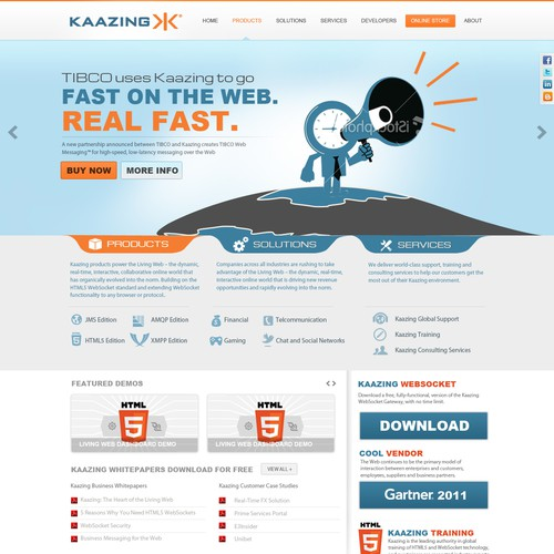 Dynamic, Smart, Cool website design project for Kaazing