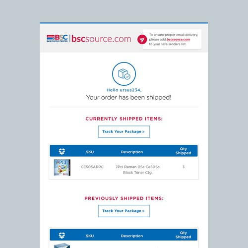 Items Shipment email Design