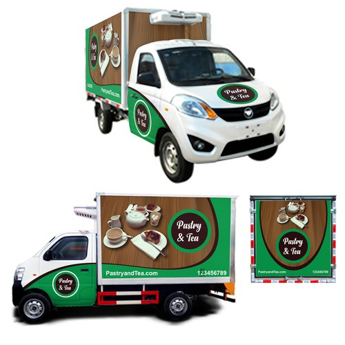 Wood and brick design for Food truck wrap