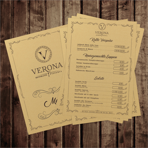 Design concept for classic restorant menu Verona