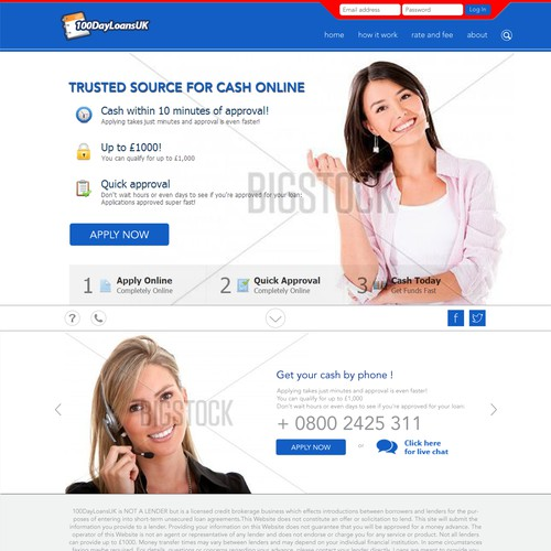100dayloans.co.uk Home Page Redesign - A payday loans website that needs to appeal to UK audience