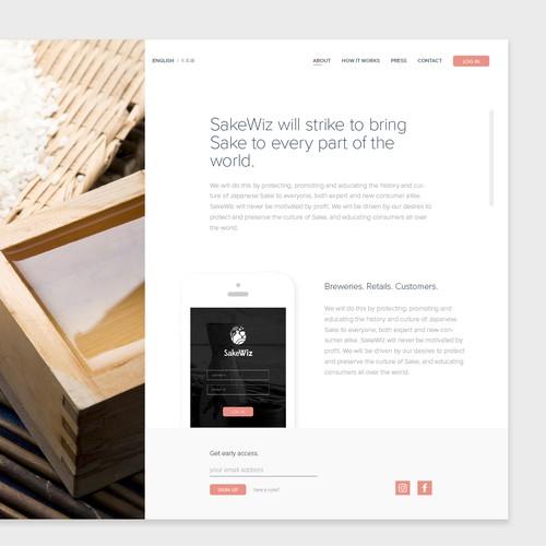 Landing Page Design for Sakewiz