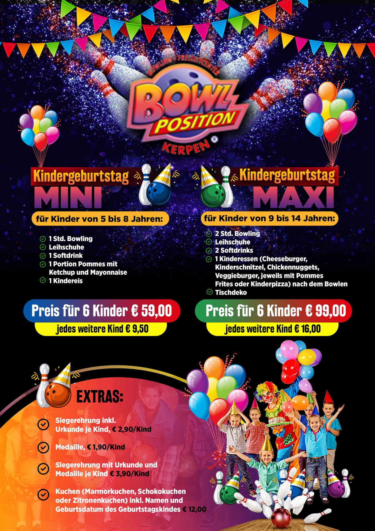 Flyer für Kindergeburtstag in einem Bowlingcenter