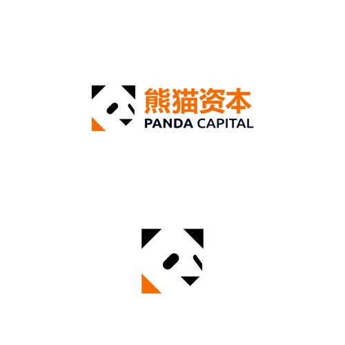 Geometric abstract panda icon bank logo