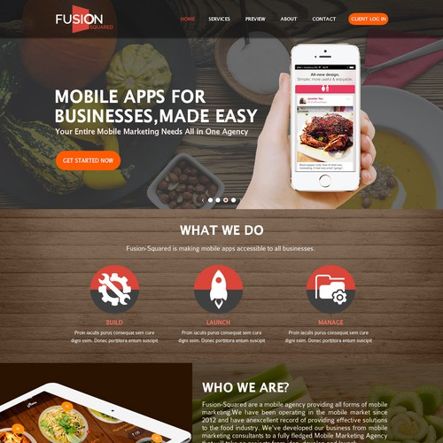 mobile app company for food & restaurant apps needs new website
