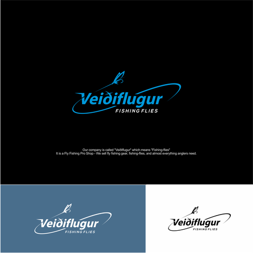 Logo concept for veidflugur fishing flies.