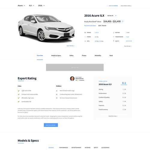 Car specification website