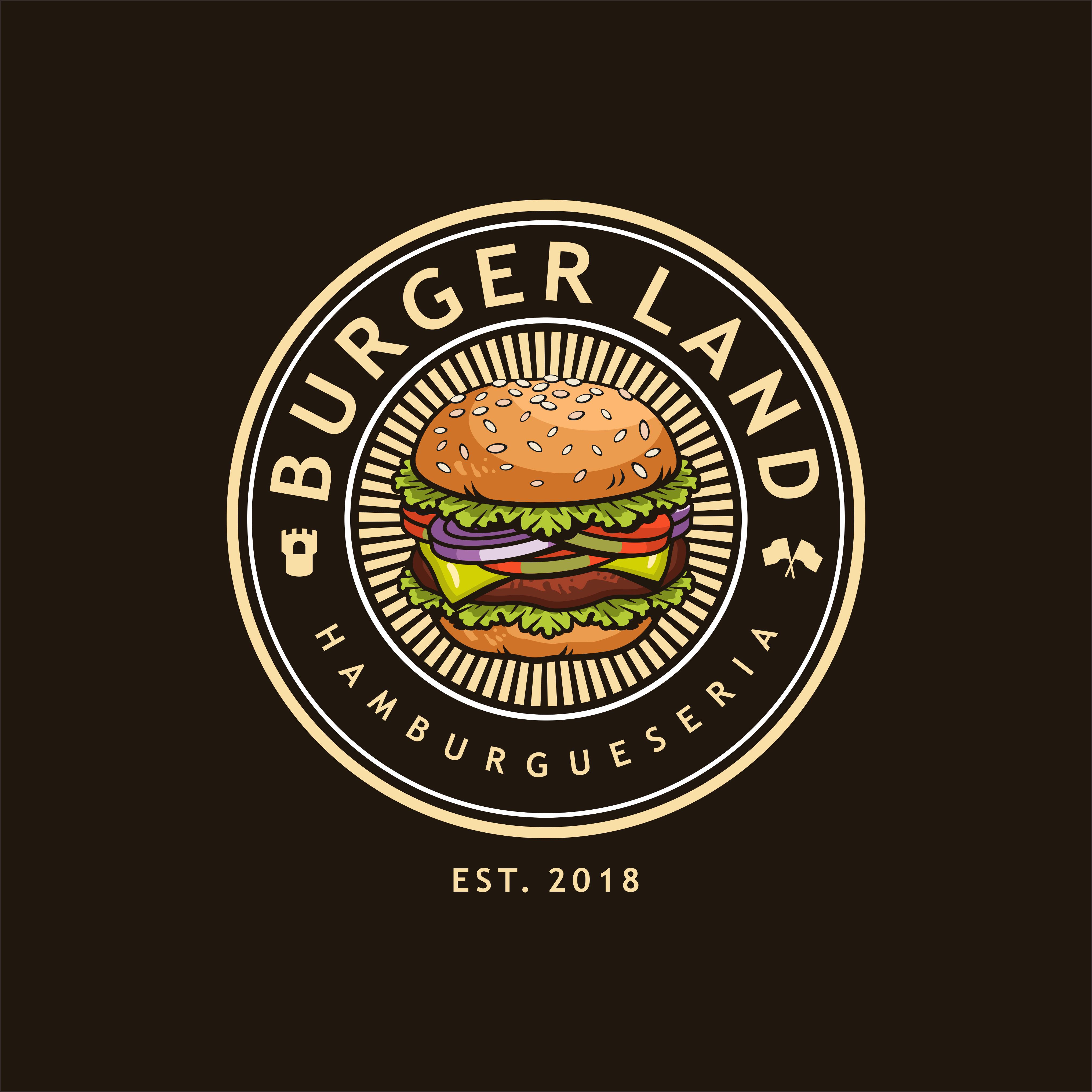Diseña y crea el logo para Burger Land - hamburguesería hipster chic