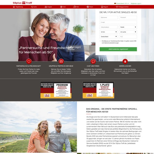 New homepage for the website for dating and friendship for singles over 50