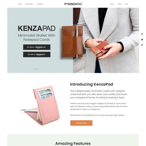 Minimalist & Sophisticated landing page for KenzaPad, which is a minimalist wallet with integrated notepad and sell the product on Amazon.