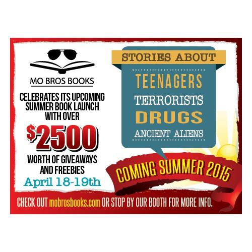 Create a 2.3 x 1.75 inch Mo Bros Books ad for LA Times Festival of Books