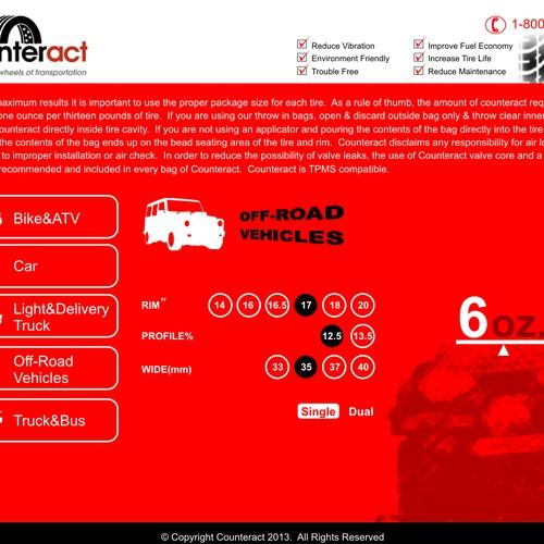 Web-App single page Tire Size Application chart
