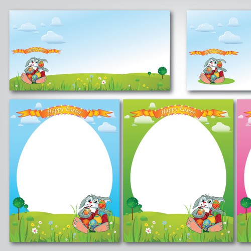 Easter Bunny Letter and Envelope Illustration