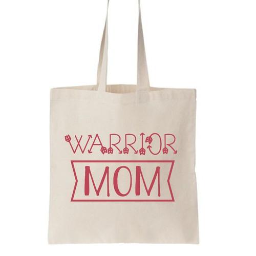 Warrior mom tote bag desig