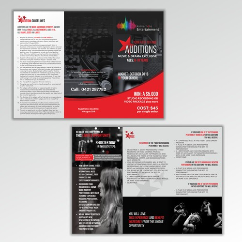 Flyer for Fame Auditions for Musicians & Actors
