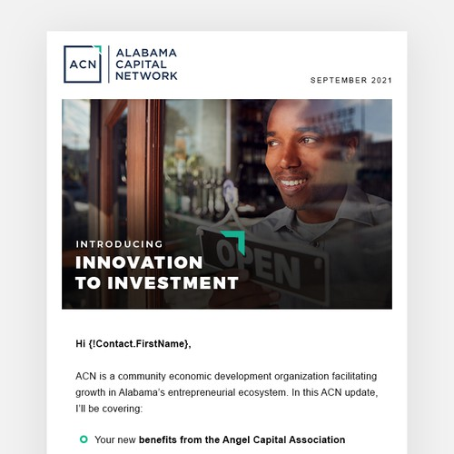 E-mail newsletter for Venture Capital Group / Innovation Ecosystem