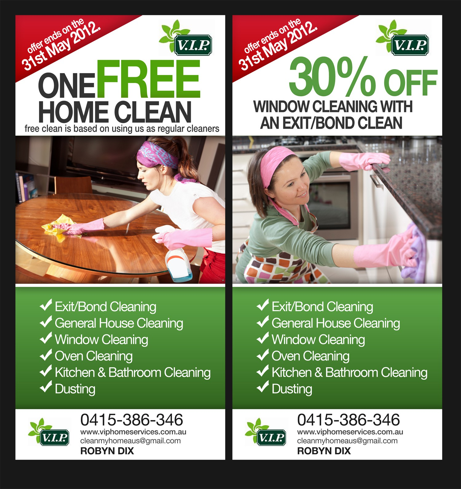 Help V.I.P Home Cleaning with a new print or packaging design
