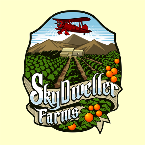 Font based logo that captures the feel of a southern Californian orchard with a aeronautical them