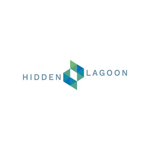 Abstract lagoon, eye and fishes logo