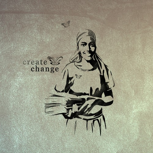 Create Change Girl's Education Illustration & Stencil