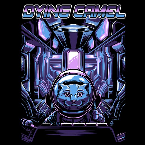 Space Cat shirt design for gaming channel