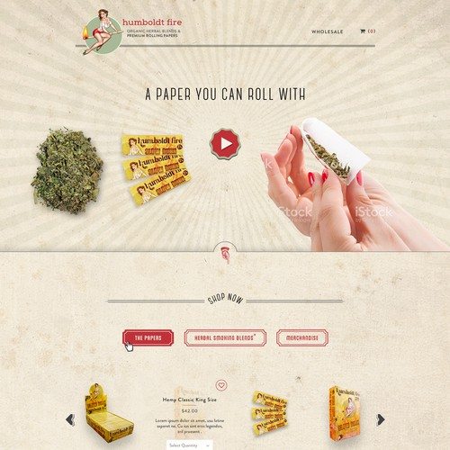 Vintage, Retro and Pin-Up themed web page design for a rolling paper company