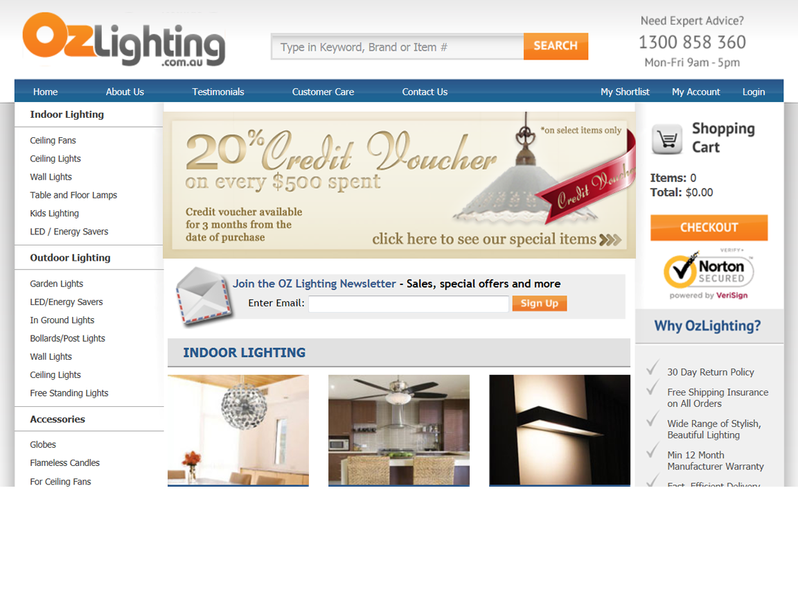Ozlighting.com.au needs a new banner ad