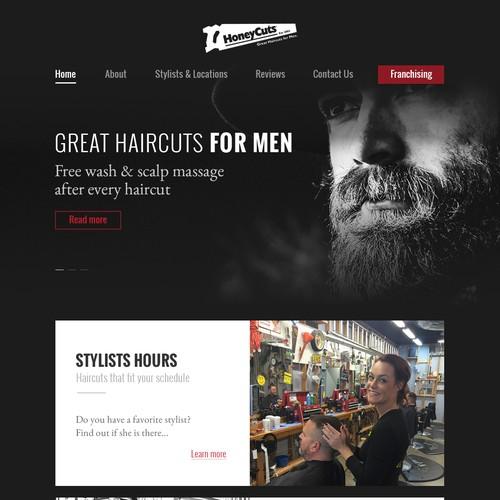 Landing page for men's hair salon