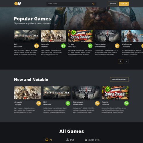Landing page of a video game review website