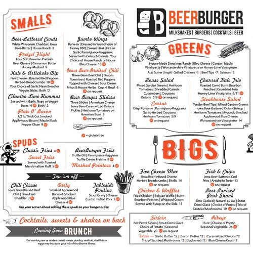 Fun, retro restaurant menu