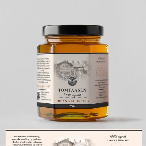 Label for honey glass - vintage style