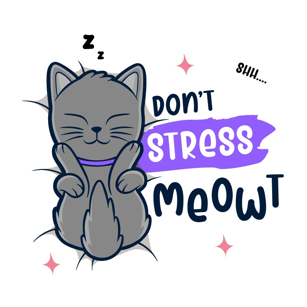 Funny cat illustration and slogan design for T-shirt and other merch