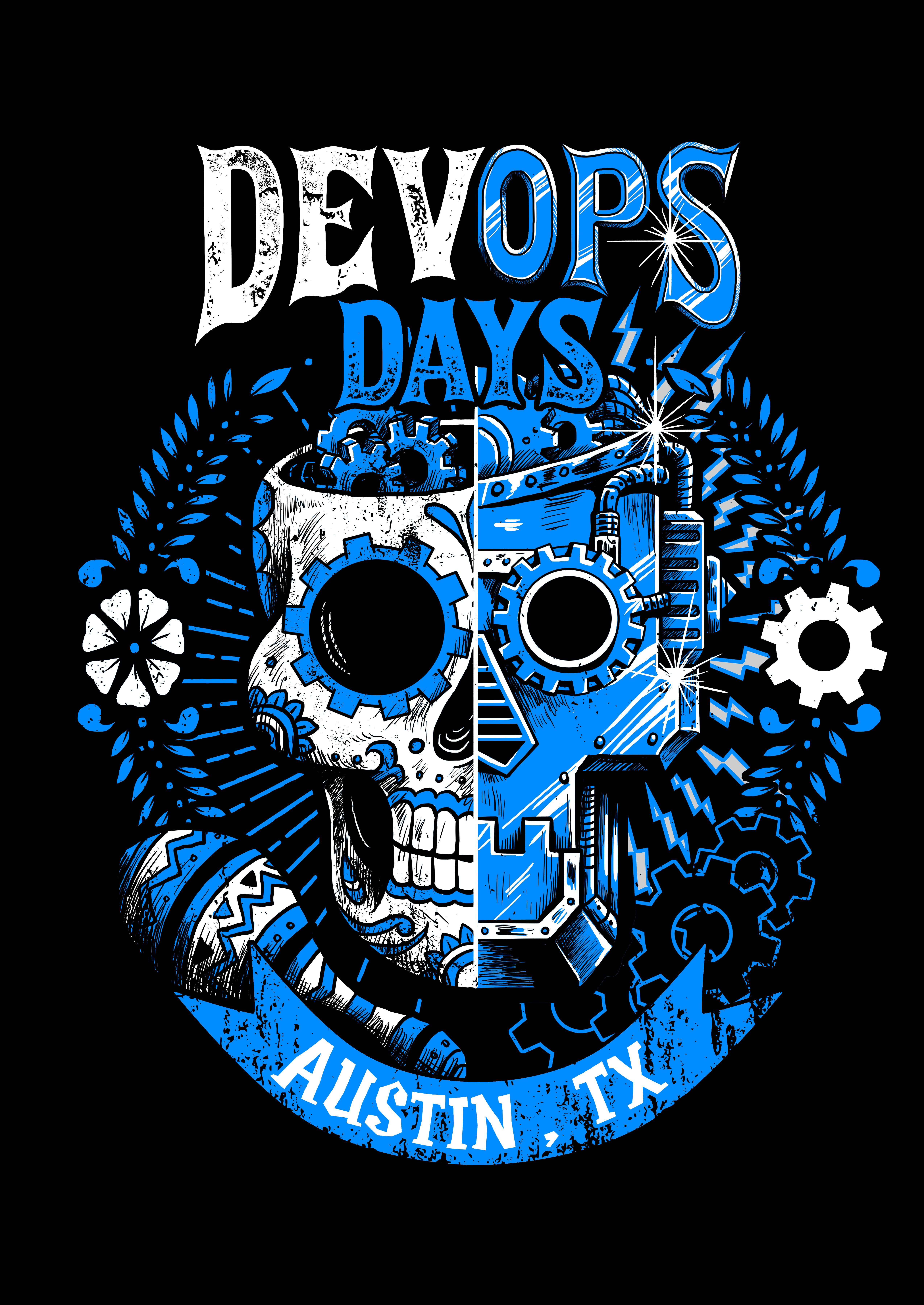 Robots, Calaveras collaborating for Devopsdays Austin