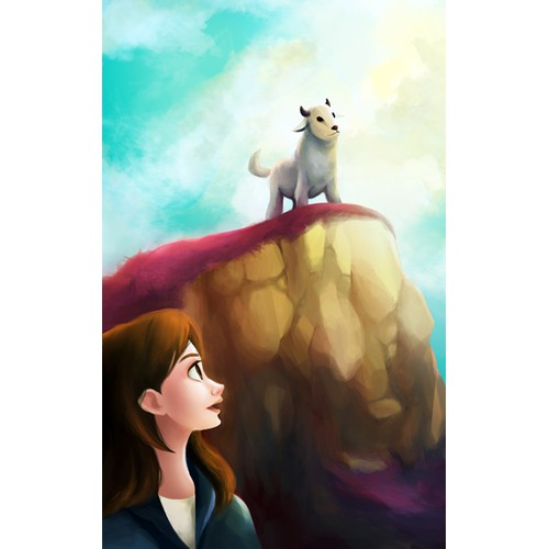 A cute goat peers over a cliff. Fun and adventure, Harry Potter type of book.