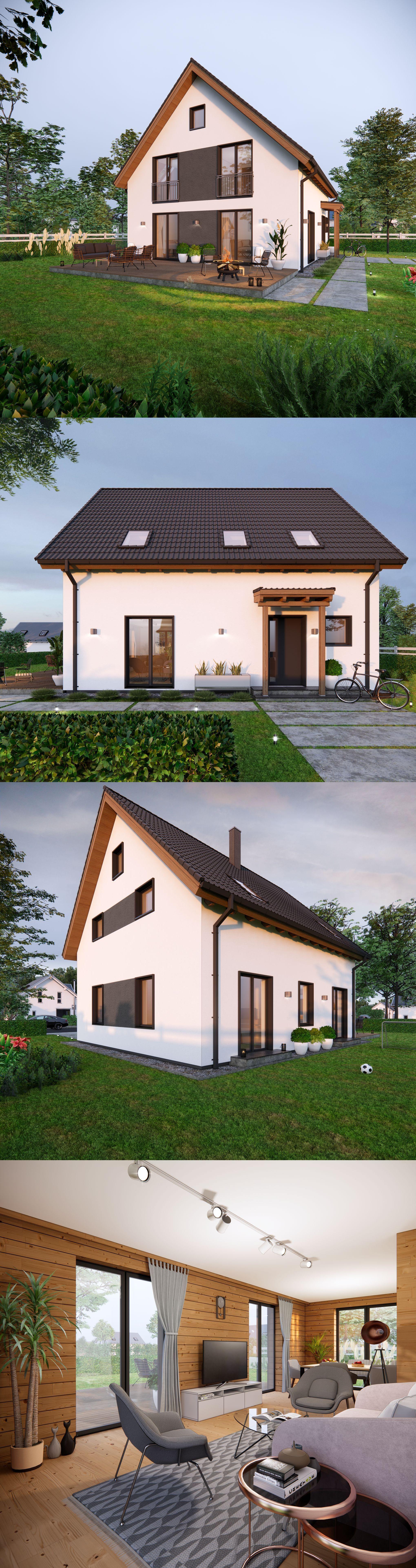 3d渲染:现代木制单家庭房子
