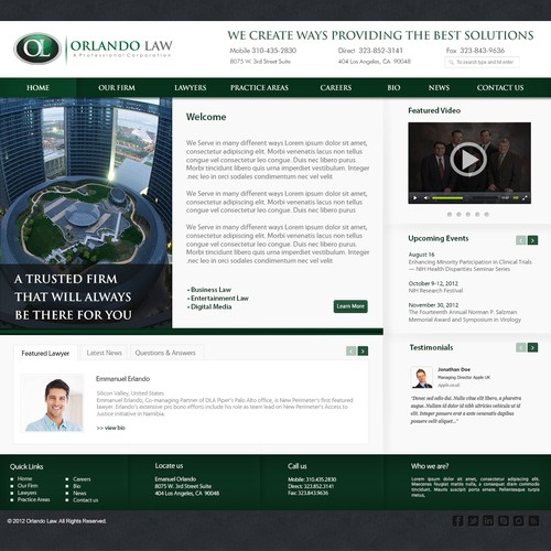 New website design wanted for Orlando Law, P.C.