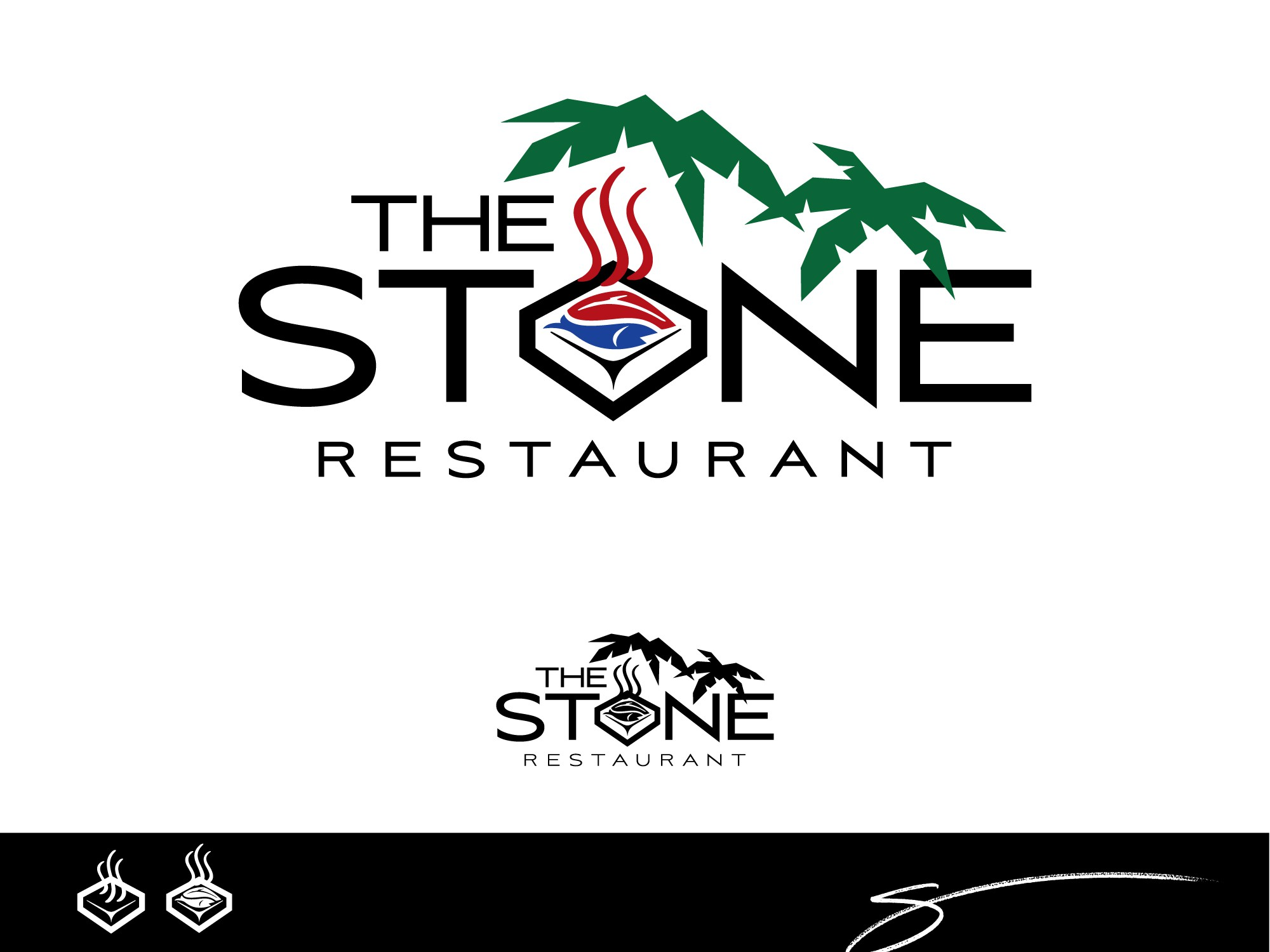 logo and business card for The Stone Restaurant