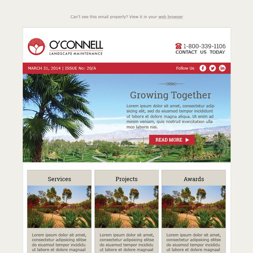 Email newsletter template for a cutting edge landscape company