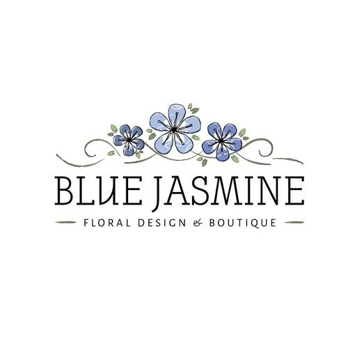 LOGO & BUSINESS CARD DESIGN FOR BLUE JASMINE LLC FLORAL DESIGN AND BOUTIQUE