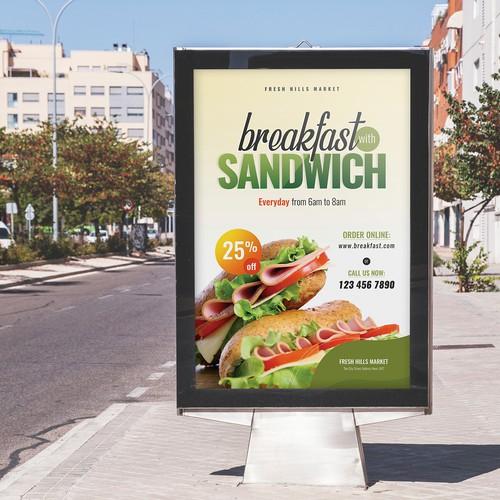 Breakfast poster template design